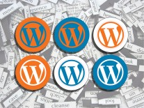 Bild von diversen WordPress-Stickern vor einem Hintergrund aus durcheinander gewürfelten Wörtern.