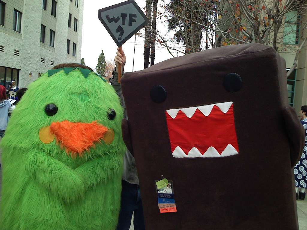 """Foto von Domo-kun und einm grünen Vogel. Im Hintergrund wird ein Schild mit der Aufschrift """"WTF"""" hochgehalten"""