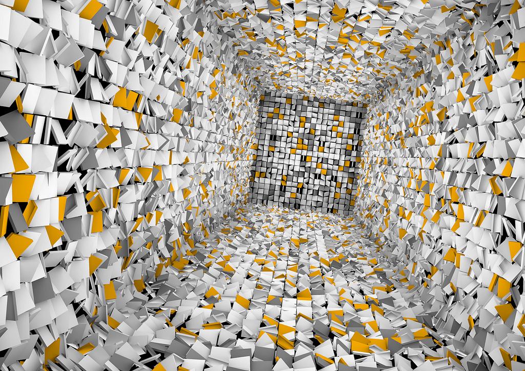 Bild eines digital entworfenen Raumes, dessen Wände aus vielen kleinen teils farbigen Vierecken bestehen