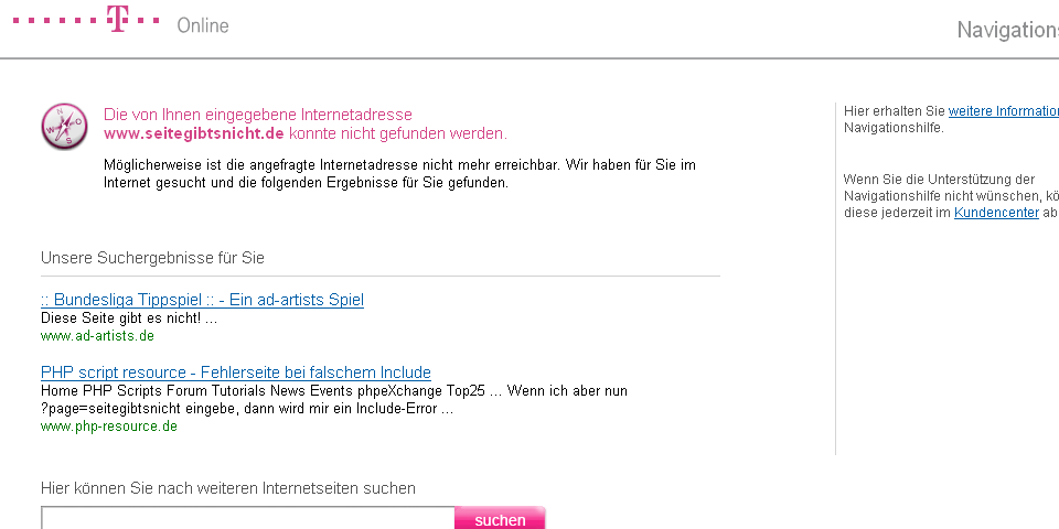 Screenshot der T-Online-Navigationshilfe