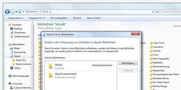 Screenshot der Bibliotheken-Verwaltung in Windows 7