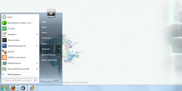 Screenshot der neuen Taskleiste von Windows 7