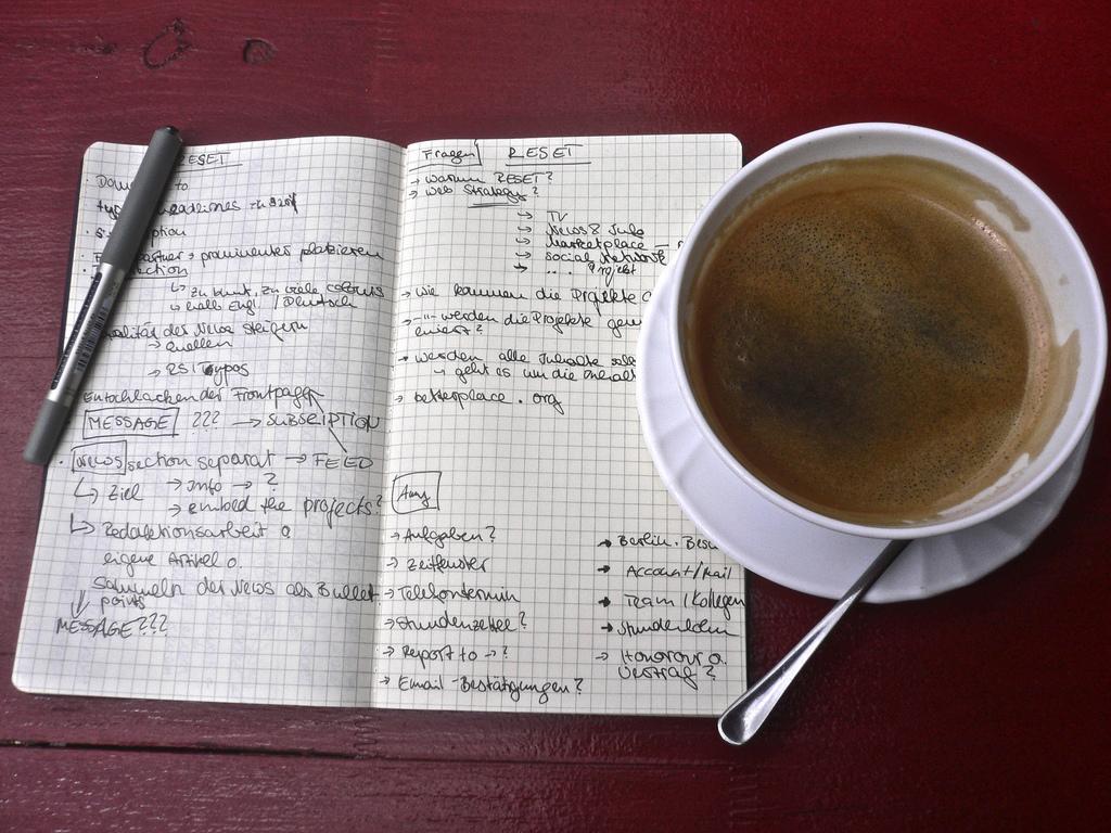 Ein Notizbuch mit zwei vollgeschriebenen Seiten. Daneben eine Tasse Kaffee.