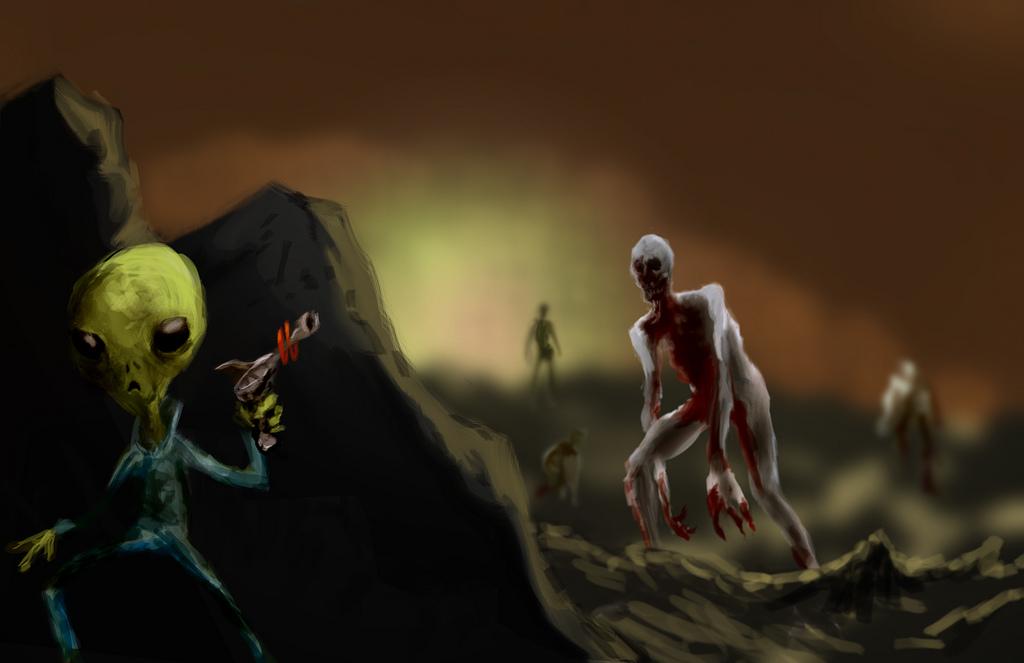 Digitale Zeichnung eines Aliens mit einer Energiewaffe hinter einem Felsen vor eine Horde Monster versteckt.