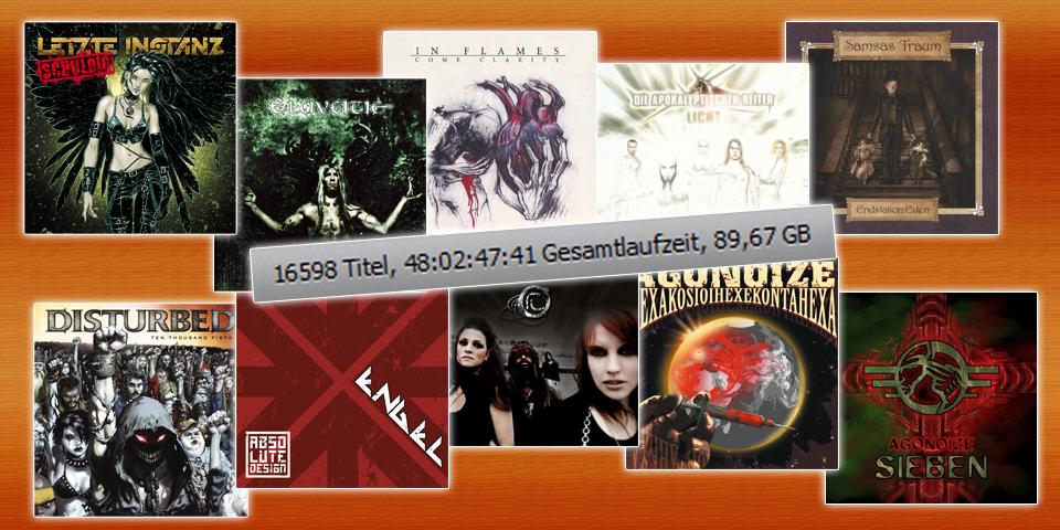 Collage aus diversen Albencovern und der Menge an Songs, die meine Installation von iTunes verwaltet.