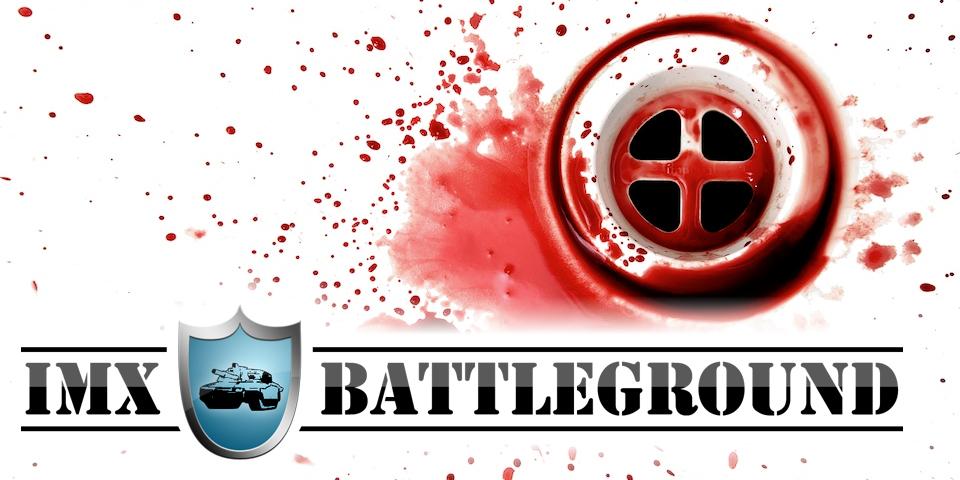 Logo des imx.BattleGround vor einem Abfluss eines Waschbeckens, welches mit Blutspritzern gesprenkelt ist.