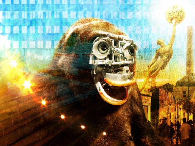 Digiart eines Affen mit einer Steampunk-Brille vor einem farbenfrohen Hintergrund, der technischen Fortschritt und Evolution verkörpern soll.