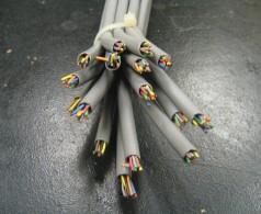 Ein Bündel von aufgeschnittenen Netzwerk-Kabeln, so dass man die einzelnen Kupferdrähte erkennen kann.