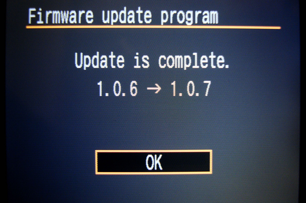 Screenshot einer Canon-Kamera nachdem ein Update eingespielt wurde.