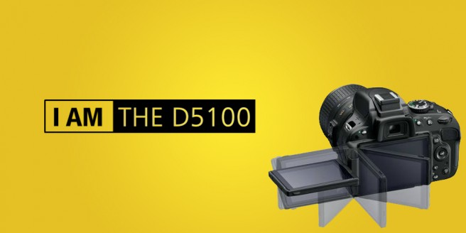 "Bild der Nikon D5100 mit dem Text ""I am the D5100"""