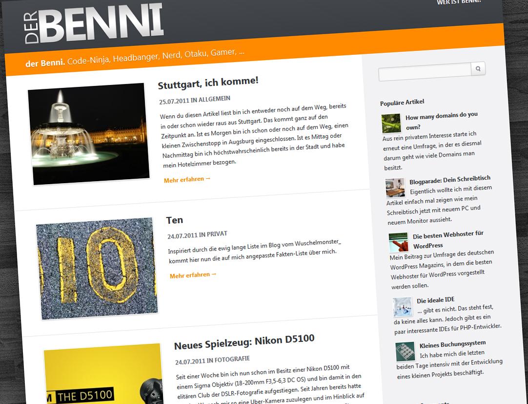 Screenshot der Startseite des Blogs von Benjamin Hofmann