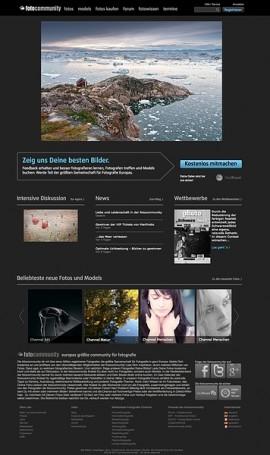 Screenshot der Startseite der fotocommunity