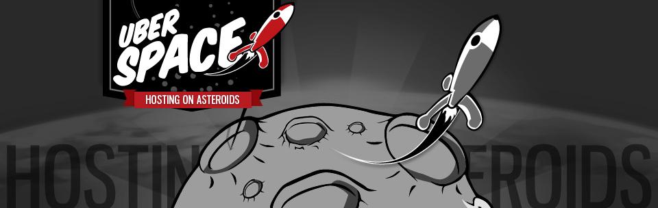 Das Logo von Uberspace, vor einer Karikatur eines Asteroiden, um den eine Rakete kreist