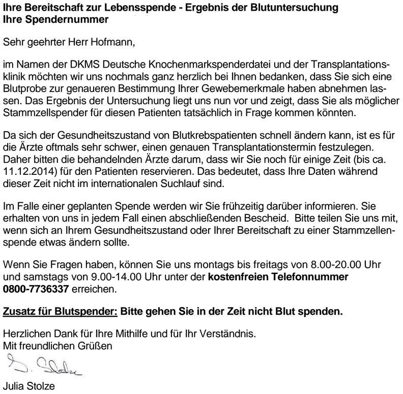 Auszug aus der PDF-Datei, die der heutigen E-Mail der DKMS angehängt ist.