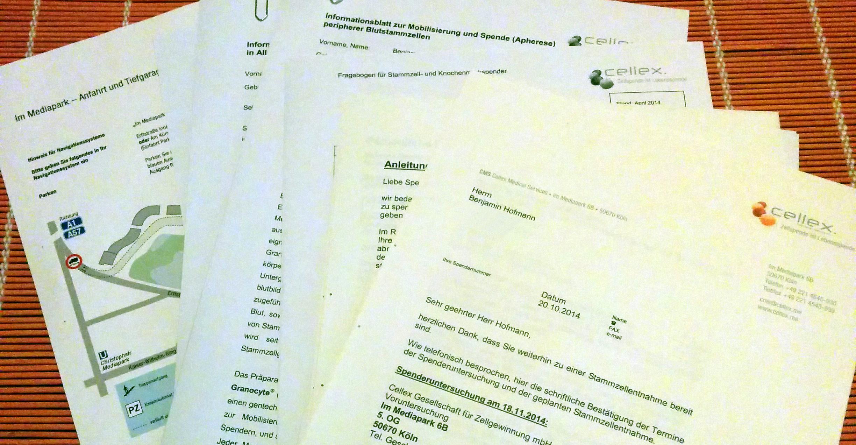 Foto von Formularen, Datenschutzerklärungen und Informationen zur Stammzellenspende.