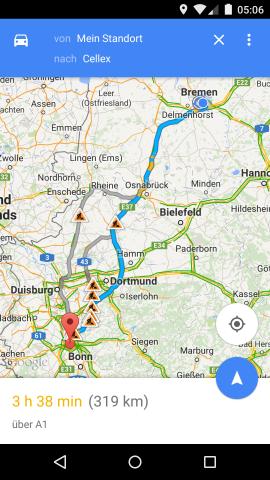 Screenshot des Routenplaners von Google Maps