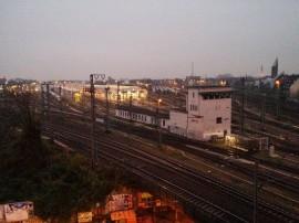 Blick von oben auf den Rangierbahnhof von Köln